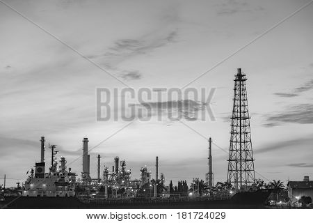Black and Whitel Petroleum factory heavy manufacture industrial background