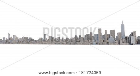 3D Rendering Of Isolated Cityscape On White