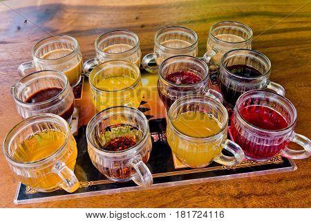 Bali coffee luwak coffee fruit and herb tea testing set. Bali Indonesia.