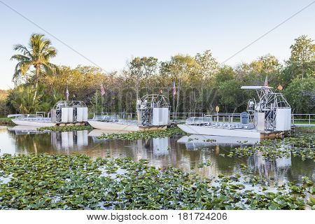 Airboats in the Everglades National Park. Florida United States