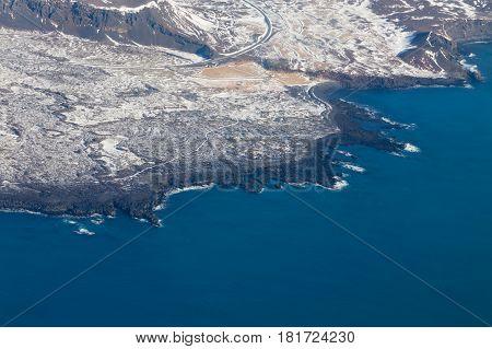 Aerial view Iceland landscape seacoast winter landscape background