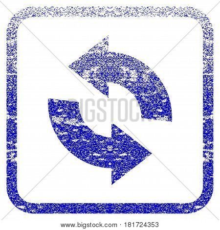 Refresh textured icon for overlay watermark stamps. Blue vectorized texture. Flat vector symbol with dirty design inside rounded square frame. Framed blue rubber seal stamp imitation.