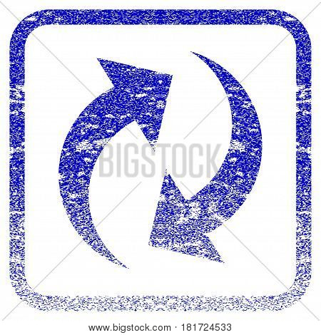 Refresh textured icon for overlay watermark stamps. Blue vectorized texture. Flat vector symbol with scratched design inside rounded square frame. Framed blue rubber seal stamp imitation.