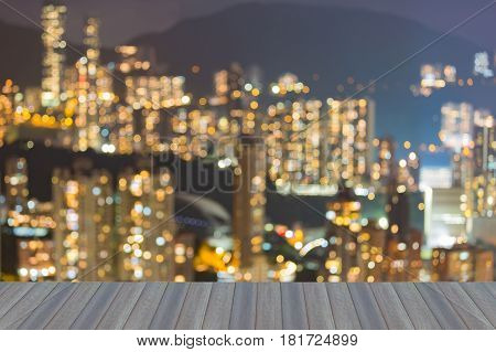 Opening wooden floor Blurred bokeh light Hong Kong residence downtown abstract background