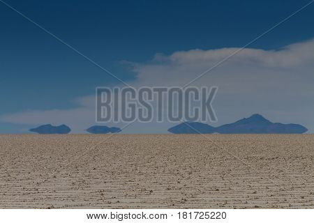 Mirage of mountains at Salar de Uyuni Bolivia