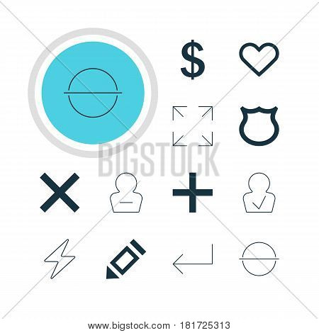 Vector Illustration Of 12 User Icons. Editable Pack Of Remove, Pen, Approved Profile And Other Elements.