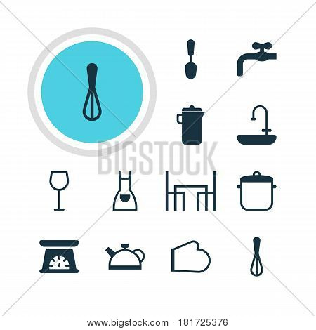 Vector Illustration Of 12 Kitchenware Icons. Editable Pack Of Tablespoon, Corolla, Faucet And Other Elements.
