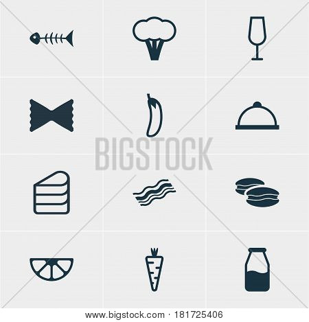 Vector Illustration Of 12 Meal Icons. Editable Pack Of Aubergine, Cruet, Lime And Other Elements.