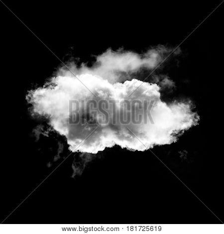 Cloud shape isolated over black background 3D rendering realistic cloud illustration