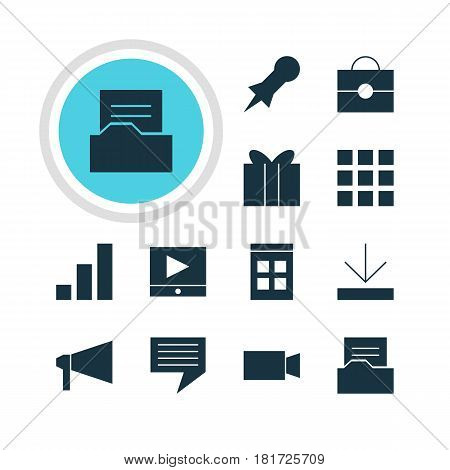 Vector Illustration Of 12 Online Icons. Editable Pack Of Document Directory, Increase Chart, Grid And Other Elements.