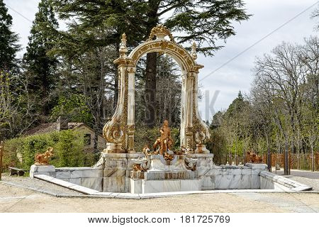 Source Statue of Hercules in La Granja Segovia. Spain