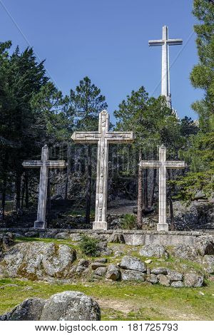 large cross Valley of the Fallen Valle de los Caidos Madrid spain