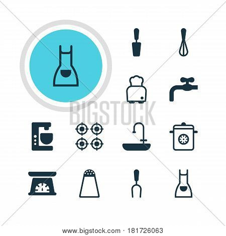 Vector Illustration Of 12 Kitchenware Icons. Editable Pack Of Bread, Measuring Tool, Furnace And Other Elements.