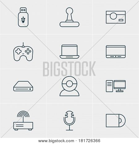 Vector Illustration Of 12 Hardware Icons. Editable Pack Of Monitor, Photography, Usb Card And Other Elements.