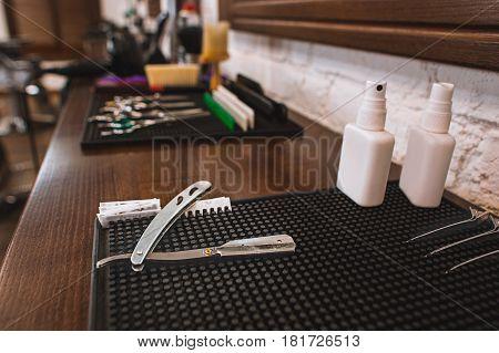 Barber shop equipment. Professional hairdressing tools in barber shop.