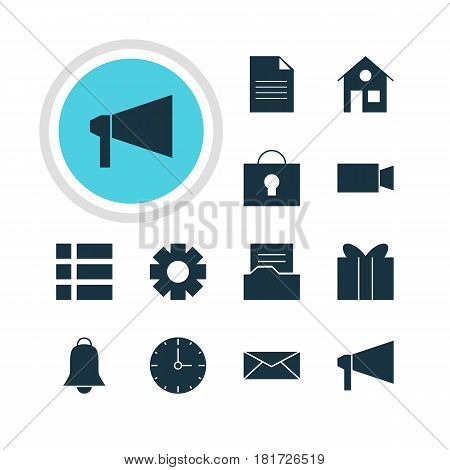 Vector Illustration Of 12 Web Icons. Editable Pack Of Video Camera, Document Directory, List And Other Elements.