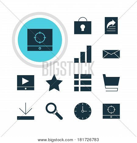 Vector Illustration Of 12 Internet Icons. Editable Pack Of Increase Chart, Bookmark, Document Transfer And Other Elements.