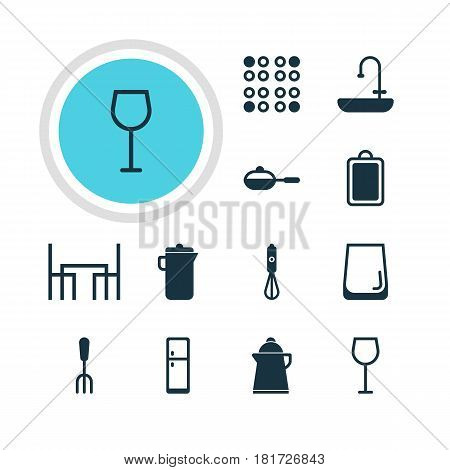 Vector Illustration Of 12 Restaurant Icons. Editable Pack Of Jug, Chopping Desk, Tea And Other Elements.