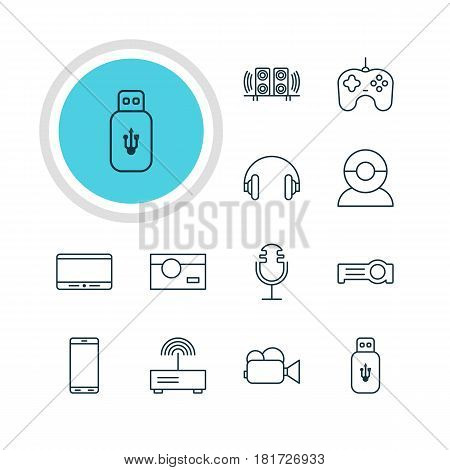 Vector Illustration Of 12 Device Icons. Editable Pack Of Joypad, Video Chat, Headset And Other Elements.