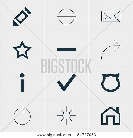 Vector Illustration Of 12 User Icons. Editable Pack Of Envelope, Confirm, Mainpage And Other Elements.