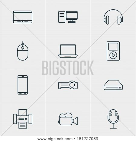 Vector Illustration Of 12 Gadget Icons. Editable Pack Of Sound Recording, Computer, Memory Storage And Other Elements.