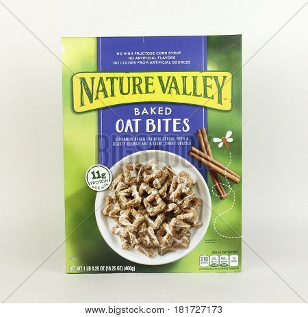 Spencer Wisconsin April 15 2017 Box of Nature Valley Oat Bites Cereal Nature Valley is owned by General Mills and was introduced in 1975