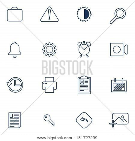 Set of 16 vector icons for software application or websites - social media and technology