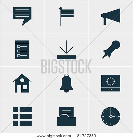 Vector Illustration Of 12 Online Icons. Editable Pack Of Bullhorn, Thumbtack, List And Other Elements.
