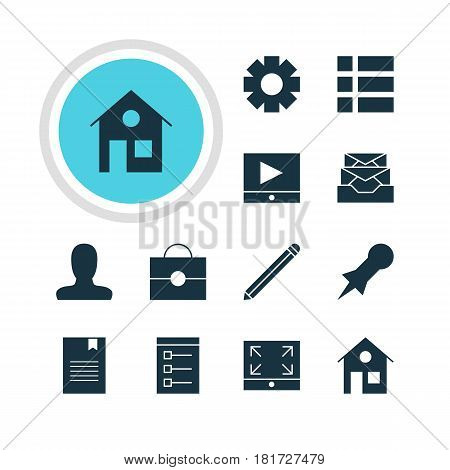 Vector Illustration Of 12 Online Icons. Editable Pack Of House, Portfolio, Play Button And Other Elements.