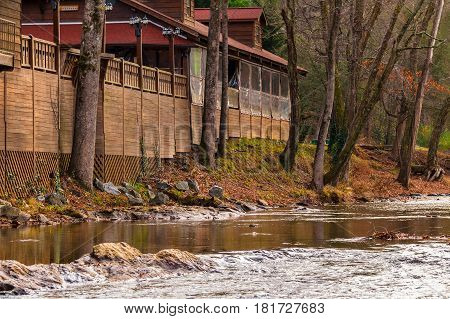 View of the Chattahoochee river and part of the café on its shore Helen USA