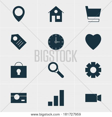 Vector Illustration Of 12 Web Icons. Editable Pack Of Capture, Clock, Keyhole And Other Elements.
