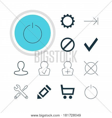 Vector Illustration Of 12 Member Icons. Editable Pack Of Cancel, Register Account, Pen And Other Elements.