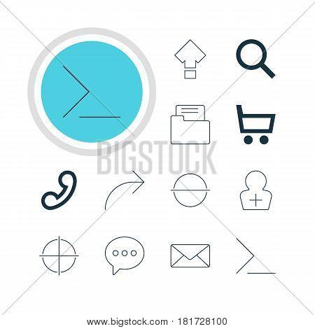 Vector Illustration Of 12 User Icons. Editable Pack Of Dossier , Handset, Envelope Elements.