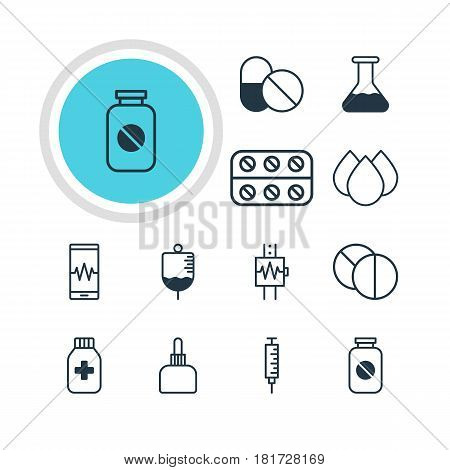 Vector Illustration Of 12 Medicine Icons. Editable Pack Of Aspirin, Round Tablet, Trickle And Other Elements.
