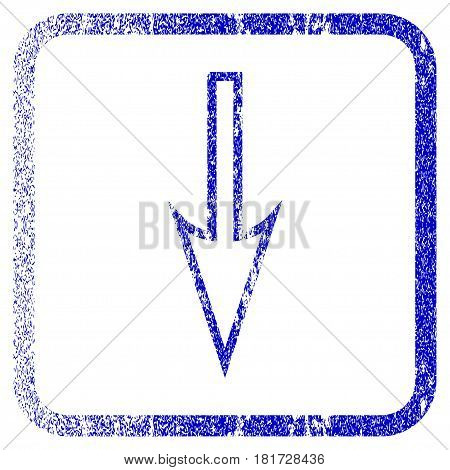 Sharp Arrow Down textured icon for overlay watermark stamps. Blue vectorized texture. Flat vector symbol with unclean design inside rounded square frame. Framed blue rubber seal stamp imitation.