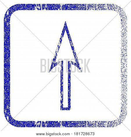 Sharp Arrow Up textured icon for overlay watermark stamps. Blue vectorized texture. Flat vector symbol with unclean design inside rounded square frame. Framed blue rubber seal stamp imitation.