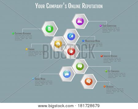 3D Infographic Concept With Marketing Research, Strategy, Mission, Analytics Pieces In Perspective,