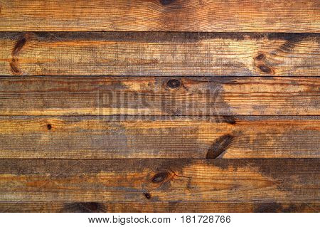 Brown very old brown wooden texture with a natural pattern. Top view. Old wooden board background. Wooden planks. Wooden background.