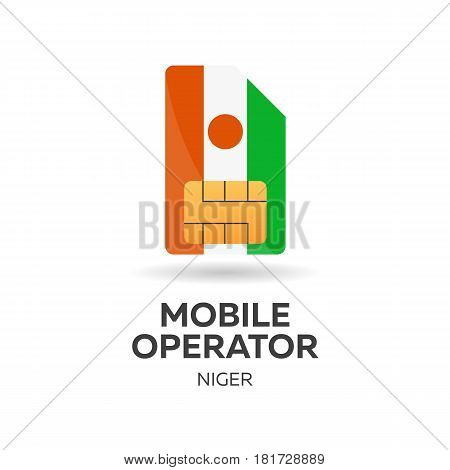 Niger Mobile Operator. Sim Card With Flag. Vector Illustration.