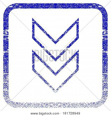 Shift Down textured icon for overlay watermark stamps. Blue vectorized texture. Flat vector symbol with scratched design inside rounded square frame. Framed blue rubber seal stamp imitation.
