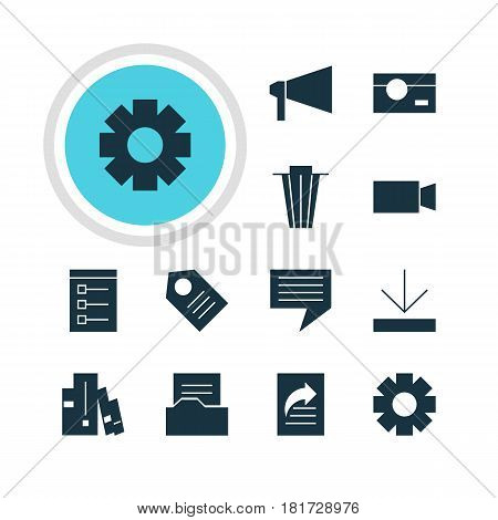 Vector Illustration Of 12 Internet Icons. Editable Pack Of Coupon, Chat, Document Directory And Other Elements.