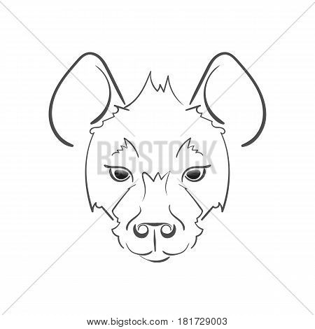 Stylized Muzzle Hyena Black And White Sketch. For Use As Logos On Cards, In Printing, Posters, Invit