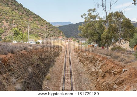 STOMPDRIFT SOUTH AFRICA - MARCH 23 2017: The Stompdrift railway station next to the Stompdrift dam in the Western Cape Province