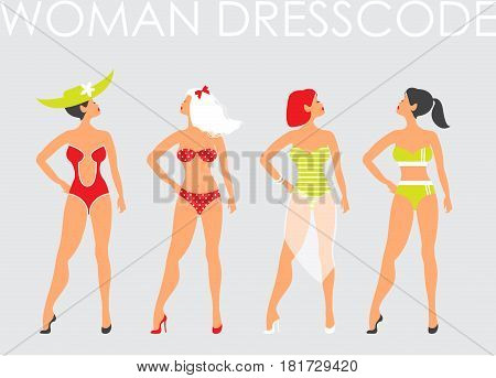 Women in swimsuit. Beautiful women in bathing suits of different types