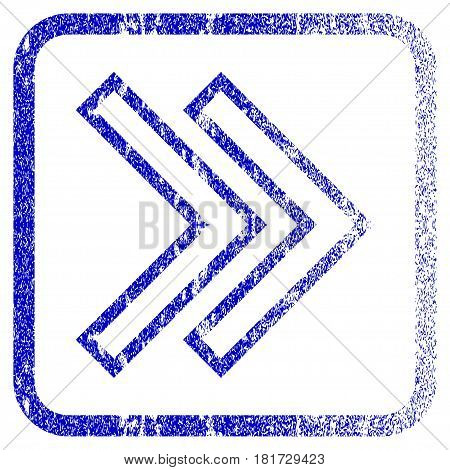 Shift Right textured icon for overlay watermark stamps. Blue vectorized texture. Flat vector symbol with scratched design inside rounded square frame. Framed blue rubber seal stamp imitation.