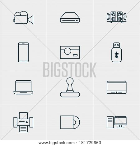 Vector Illustration Of 12 Hardware Icons. Editable Pack Of Dvd Drive, PC, Game Controller And Other Elements.