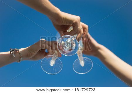 A Group Of Friends Are Celebrating With Sparkling Wine Relaxing At A Party. Glasses. Champagne. Wedd