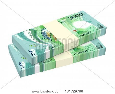 Vanuatu vatu bills isolated on white background. 3D illustration.