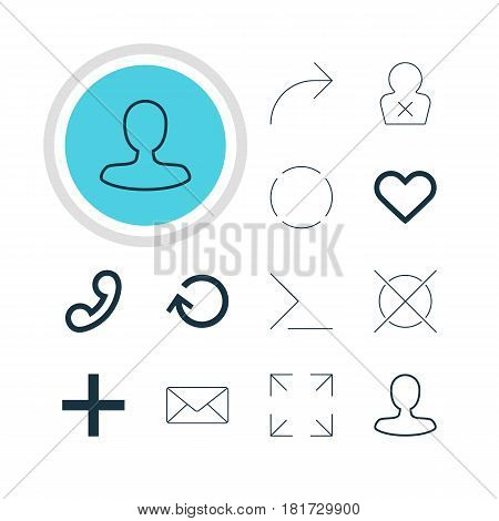 Vector Illustration Of 12 Interface Icons. Editable Pack Of Handset, Envelope, Plus Elements.