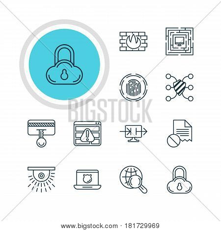 Vector Illustration Of 12 Data Protection Icons. Editable Pack Of Internet Surfing, Network Protection, Data Security And Other Elements.